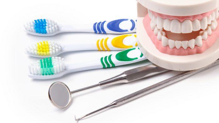 escova dental, prótese e instrumentos de uso odontológico
